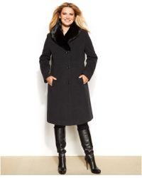 Jones New York Plus Size Faux Fur Collar Coat - Lyst