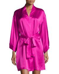 Josie Natori Lolita Silk Short Robe - Lyst