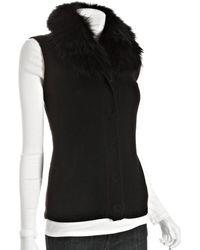 Diane von Furstenberg Black Wool 'Lupan' Raccoon Fur Collar Vest - Lyst