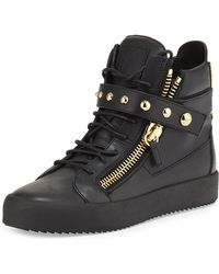Giuseppe Zanotti - Black Leather Metal_plated High_top Sneakers - Lyst