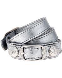 Balenciaga Wrap-around Metallic Leather Bracelet - Lyst