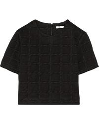 T By Alexander Wang Black Jacquardknit Top - Lyst