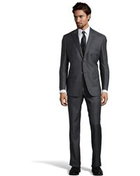 Ike Behar Grey Plaid Wool 2-Button Suit With Flat Front Pants - Lyst