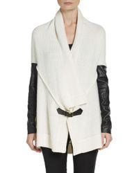 Ella Moss Faux Leather Paneled Cardigan - Lyst