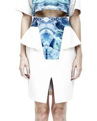 Cres. E Dim Printed Ice Blue Peplum Skirt - Lyst
