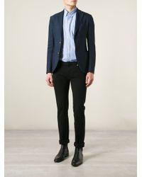 Giorgio Armani Blue Buttoned Blazer - Lyst