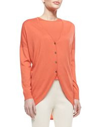 St. John Collection Fine Gauge Silkcashmere Blend Vneck Trapeze Cardigan with Shirttail - Lyst