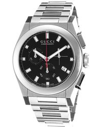 Gucci Men'S Pantheon Chronograph Silver-Tone Steel Black Dial - Lyst
