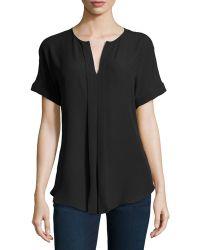 Max Studio Short Sleeve Pleated Habutai Blouse - Lyst