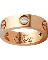 Cartier Love 18Ct Pink-Gold And Diamond Ring - Lyst