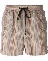 Paul Smith Striped-Print Swim Shorts - Lyst
