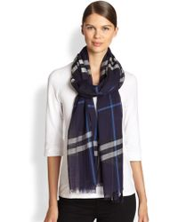 Burberry Giant Check Gauze Scarf - Lyst