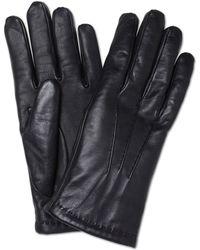 Turnbull & Asser Cashmere Lined Black Leather Gloves