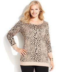 Inc International Concepts Plus Size Metallic Animal-Print Sweater - Lyst