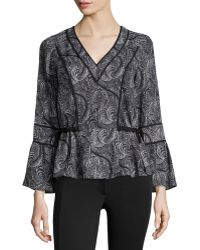 Marchesa Voyage - Jersey Ruffled-detail Blouse - Lyst