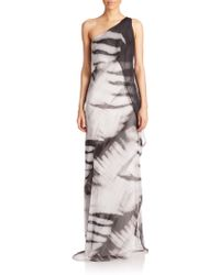 Halston Heritage One-Shoulder Draped Gown - Lyst