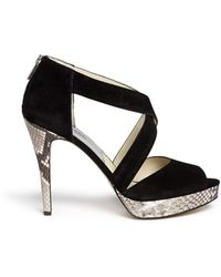 Michael Kors 'Ariel' Snake Effect Leather Suede Sandals black - Lyst