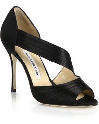 Manolo Blahnik | Treuil Pleated Satin Sandals | Lyst