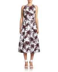 Yigal Azrouël Hawaiian Palm-Print Jacquard Dress - Lyst