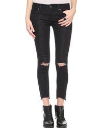 Free People Destroyed Crop Skinny Jeans - Stark Black - Lyst