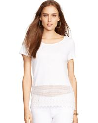 Lauren by Ralph Lauren Cotton Jersey Short Sleeve Top - Lyst