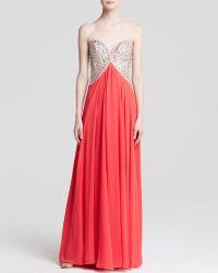Terani - Gown - Strapless Gladiator Beaded Top & Chiffon Skirt - Lyst