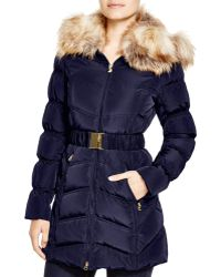 Laundry by Shelli Segal - Belted Coat With Faux-fur Trim - Lyst