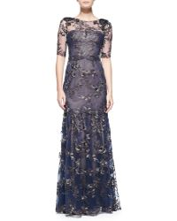 Notte By Marchesa Elbow-sleeve Tiered Flower Appliqué Gown - Lyst