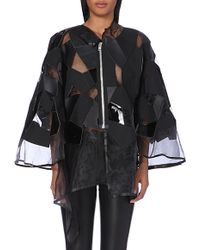 Junya Watanabe Faux Leather-Panel Organza Jacket - Lyst