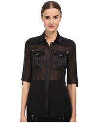Balmain Sheer Button Up Blouse - Lyst