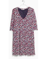 Mango Beige Printed Dress - Lyst