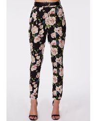 Missguided Georgiina Belted Rose Print High Waist Trousers Black - Lyst