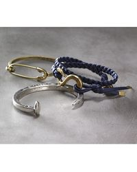 Giles & Brother Men'S Braided Wrap Bracelet - Brass/ Navy - Lyst