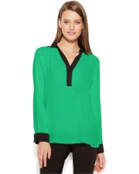 Calvin Klein Long-Sleeve Contrast-Trim Blouse - Lyst