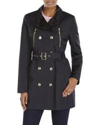 Kensie Double-Breasted Belted Trench Coat - Lyst