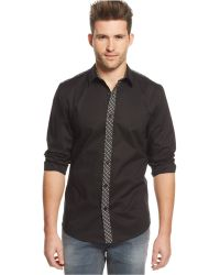 Guess Burton Plaid-trim Shirt - Lyst