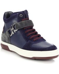 Ferragamo Nayon Leather High-Top Sneakers - Lyst