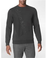 Calvin Klein White Label Classic Fit Large Logo Print Cotton Blend Sweatshirt - Lyst