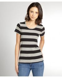 French Connection Grey And Black Striped Stretch Cotton Open Back T-Shirt - Lyst