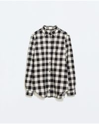 Zara Checked Shirt With Pocket - Lyst