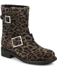 Jimmy Choo Leopard Print Suede Biker Boots - Lyst