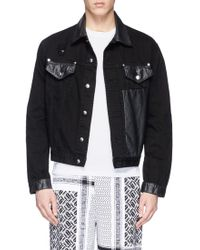 McQ by Alexander McQueen Leather Panel Distressed Denim Jacket - Lyst