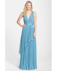 Vera Wang Pleated Chiffon Gown blue - Lyst