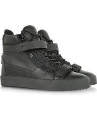 Giuseppe Zanotti May London Black Leather and Metal Hightop Sneaker - Lyst