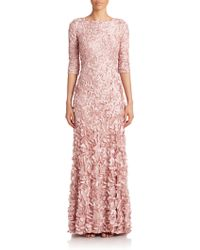 Theia Beaded Petal Gown pink - Lyst