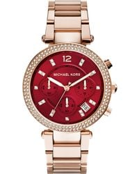 Michael Kors Women'S Chronograph Parker Rose Gold-Tone Stainless Steel Bracelet Watch 39Mm Mk6106 - A Macy'S Exclusive - Lyst