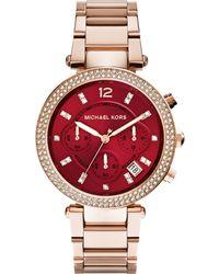 Michael Kors Womens Chronograph Parker Rose Gold-tone Stainless Steel Bracelet Watch 39mm - Lyst