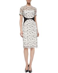 Lela Rose Lace Sheath Dress - Lyst
