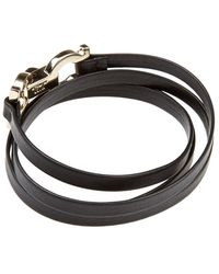 Ferragamo | Double Gancini Clasp Leather Wrap Bracelet | Lyst