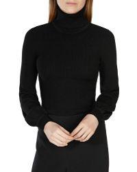 Karen Millen   Bell Sleeve Turtleneck Sweater   Lyst